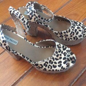 Leopard Fur Block Heel